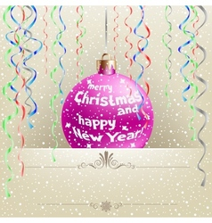 Christmas card and bauble vector image