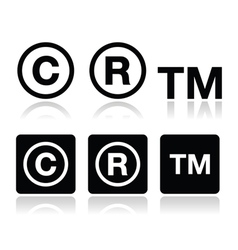 Copyright trademark icons set vector image vector image