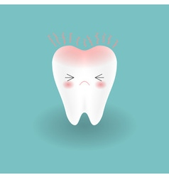 cute tooth feels toothache and hurts by pain vector image vector image