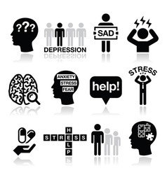 Depression stress icons set - mental health vector image vector image