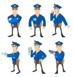 Policeman concept set cartoon style vector image