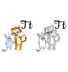 Tiger alphabet letter t coloring page vector