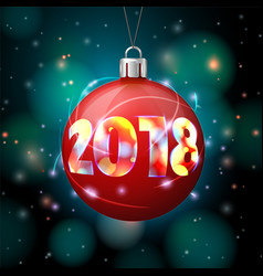 2018 new year banner with bright ball vector image