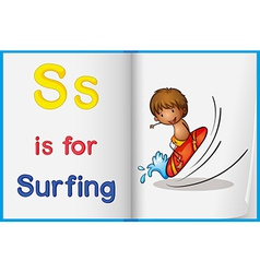 A picture of surfing in a book vector image