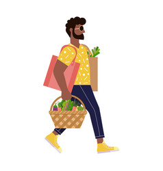 afro american man on zero waste shopping vector image