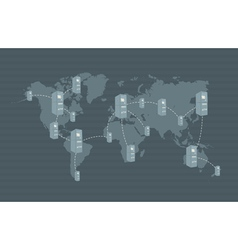 ATM network on world map vector