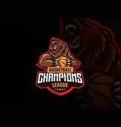Bear mascot sport logo design vector