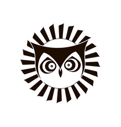 black and white logo of eagle owl emblem design vector image