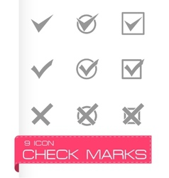 black check marks icon set vector image