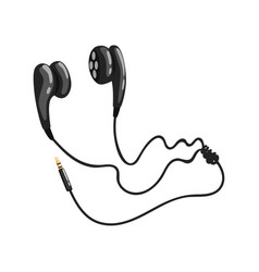 Black corded earphones or earbuds music vector