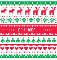 bon nadal greeting card - merry christmas in catal vector image
