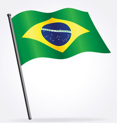 Brazil brasil flag waving on flagpole vector