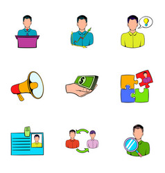 Business interview icons set cartoon style vector