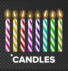 candles set cake fire light lit wick vector image