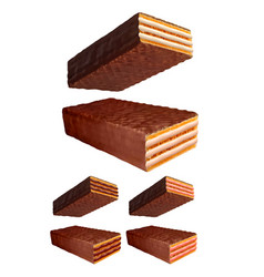 chocolate wafer 3d photo realistic set vector image