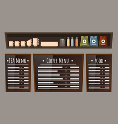 Coffeehouse interior menu with food and coffee vector