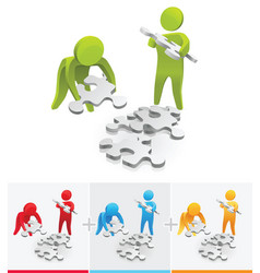 Collecting pieces puzzle vector
