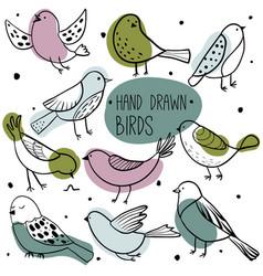 Collection cute hand drawn birds vector