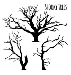 Collection of trees silhouettes on the white vector