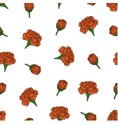 Color seamless pattern of marigold flowers vector