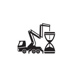 Concrete pump truck silhouettes logo concrete vector