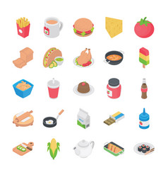 cuisines flat icons vector image
