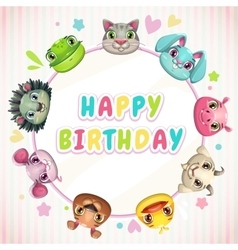 Cute childish Birthday card template vector