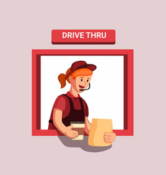 fast food drive threw gives a customer order vector image