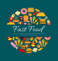 Fast food restaurant dishes round badge design vector