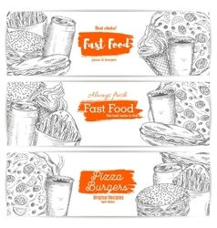 Fast food sketch banners burgers pizza sandwich vector