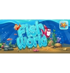 Fish world - horizontal banner icon to the vector