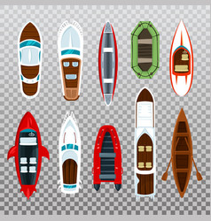 fisherman boats and wooden sailboat with paddles vector image