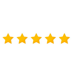 five star 5 gold stars for review and rating vector image