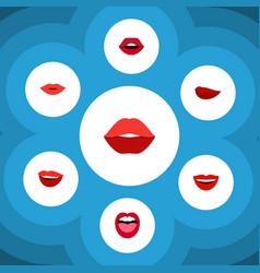 flat icon mouth set of tongue teeth kiss and vector image