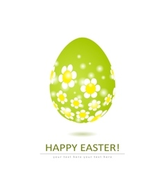 Floral egg shape isolated on white background vector image