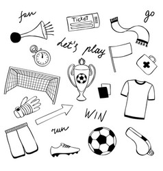 football doodle set vector image