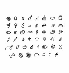 freehand food icons vector image