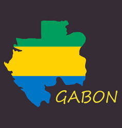 Gabon map and flag in white background vector