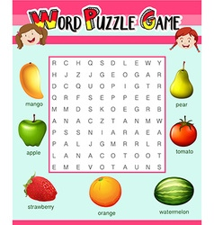 Game template for word puzzle with fruits vector image