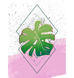 Geometric poster monstera art deco and memphis vector