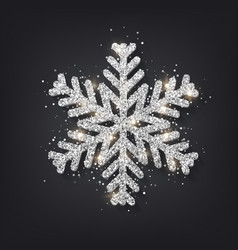 Glitter covered silver snowflake with on vector