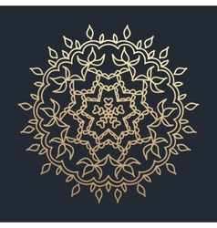 Gold round ornament pattern on black background vector image vector image