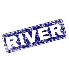 Grunge river framed rounded rectangle stamp vector