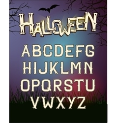 Halloween font letters poster with dark vector image