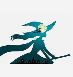 Halloween witch flies on broomstick full moon vector