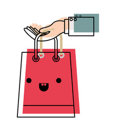 hand holding a trapezoid kawaii shopping bag in vector image