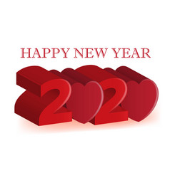 happy 2020 new year 3d red love heart party vector image