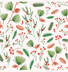 holiday seamless pattern with holly leaves vector image