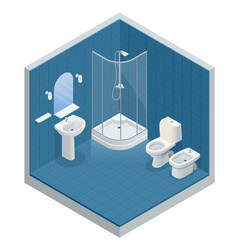 isometric concept of bathroom interior design with vector image
