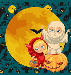 Joyful kids in halloween dresses flat poster vector